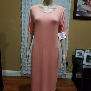 LuLaRoe modest midi dress dark peach size L NWT